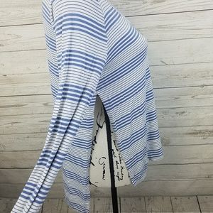 BKE Tops - BKE Blue Striped Side Slit Long Sleeve Top